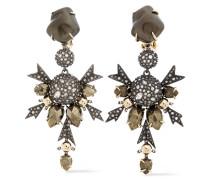Gunmetal And Gold-tone Crystal Earrings