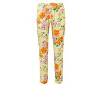 Floral-print Satin-jacquard Slim-leg Pants