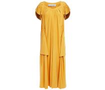 Pleated Washed-silk Midi Dress