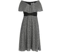 Off-the-shoulder plissé gingham dress