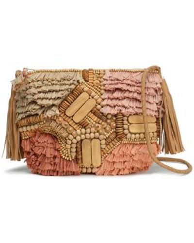 Tuk Embellished Leather, Cotton And Raffia Shoulder Bag Beige Size --