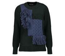 Fringed-trimmed Paneled Bouclé And Cable-knit Wool Sweater Smaragdgrün