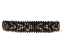 Beaded Leather Belt Schwarz