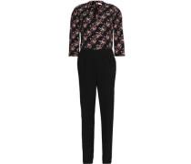 Floral print-paneled crepe jumpsuit