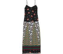 Silk Fil Coupé And Jacquard Maxi Dress Schwarz