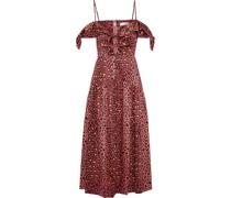 Woman Cold-shoulder Cutout Leopard-print Cotton-poplin Midi Dress Pink