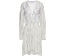 Gerafftes Kleid aus Georgette mit Print und Metallic-effekt