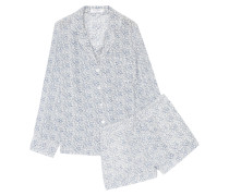 Lilian Floral-print Washed-silk Pajama Set Blau