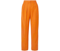 Satin-trimmed Twill Tapered Pants