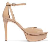 Faux Patent-leather Sandals Beige