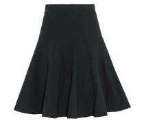 Pleated cotton-blend poplin skirt