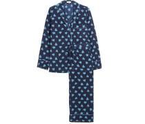 Avery Printed Washed-silk Pajama Set Navy