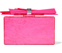 Woman Wolf Marbled Acrylic Box Clutch Bright Pink