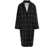 Karierter Mantel aus Jacquard-strick