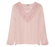 Embroidered silk-chiffon blouse