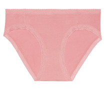 Christine Lace-trimmed Low-rise Stretch-micro Modal Briefs Pink