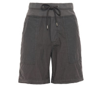 Crinkled Cotton-blend Poplin And Jersey Shorts