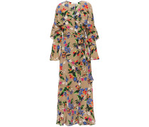 Ruffled Floral-print Silk Crepe De Chine Midi Wrap Dress