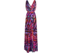 Parrot Pleated Printed Silk-chiffon Gown Mehrfarbig