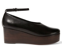 Jemma Leather And Wooden Platform Pumps Schwarz