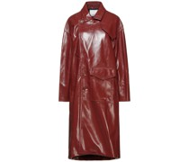 Faux Textured-leather Trench Coat