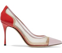 Godiva 90 Color-block Patent-leather And Mesh Pumps