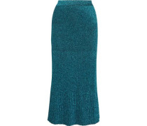 Pleated metallic stretch-knit skirt