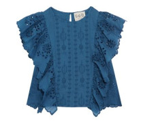 Ruffled broderie anglaise cotton top