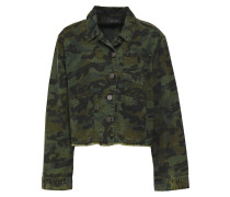 Woman Distressed Printed Denim Jacket Army Green