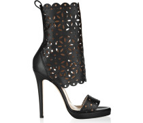 Charlotte Laser-cut And Smooth Leather Sandals Schwarz
