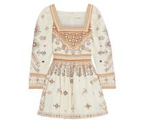 Adilah Verziertes Minikleid aus Twill aus Einer Baumwoll-leinenmischung