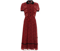 Guipure Lace-trimmed Printed Crepon Dress