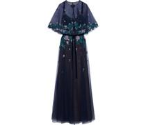 Velvet-trimmed Layered Embellished Tulle Gown