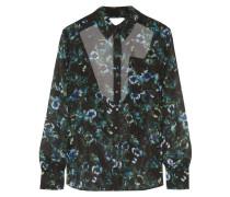 Open-back Floral-print Silk-chiffon Blouse Mehrfarbig