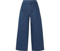 Cropped denim wide-leg pants