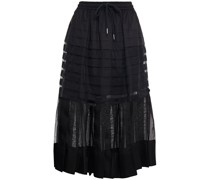 Callie Pleated Silk-organza And Cotton-poplin Midi Skirt