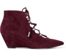 Wing lace-up suede pumps
