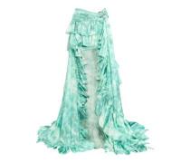 Printed ruffled ruched silk-satin maxi skirt