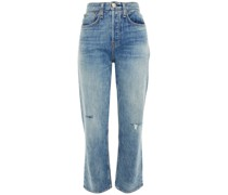 Distressed Faded High-rise Straight-leg Jeans