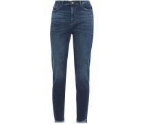 Woman Distressed High-rise Skinny Jeans Mid Denim