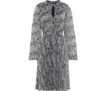 Bedrucktes Kleid aus Georgette mit Falten und Cut-outs