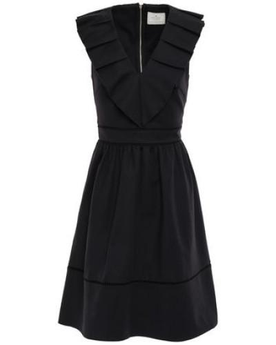 Woman Pleated Cotton-blend Dress Black