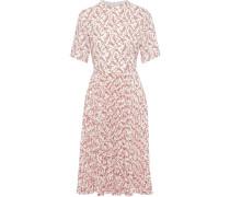 Pleated Floral-print Crepe De Chine Dress