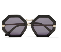 Moon Disco Square-frame Acetate And Gold-tone Sunglasses Schwarz