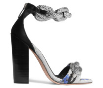 Chain-embellished Jacquard And Satin Sandals Silber