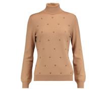 Stud-embellished wool-knit turtleneck sweater