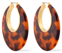 Gold-tone Tortoiseshell Resin Hoop Earrings
