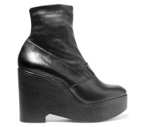 Bilou Leather Wedge Ankle Boots Schwarz