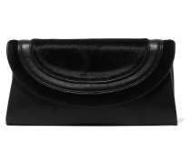 Calf Hair-paneled Leather Clutch Schwarz