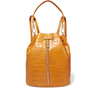 Cynnie Sling Convertible Croc-effect Leather Backpack Braun